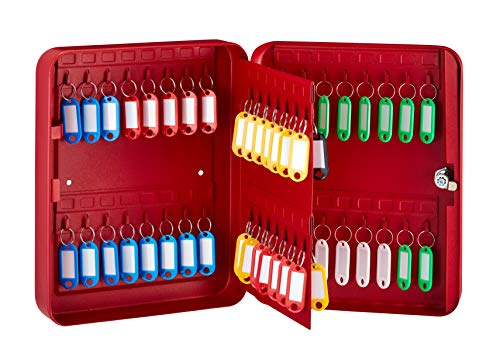 AdirOffice Key Cabinet with Key Lock - 60 Key Hooks & Tags - Durable & Heavy Duty Secured Storage for Homes Hotels Schools & Commercial Use (Red)