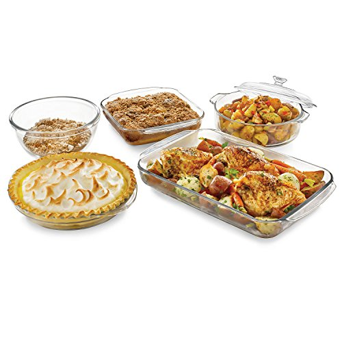 Libbey Baker's Basics 5-Piece Glass Casserole Baking Dish Set with 1 Cover