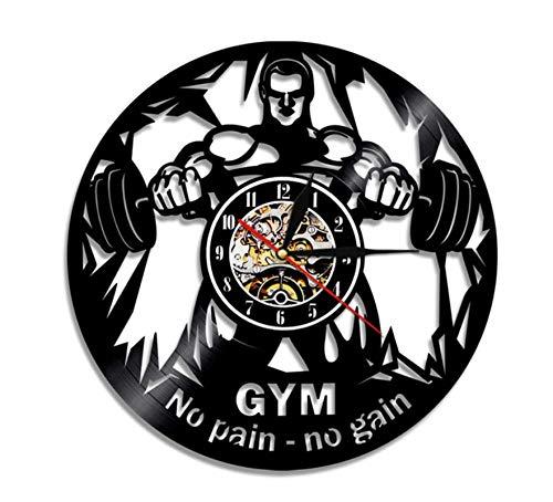 SexyGF Reloj de Pared de Vinilo 1 Pieza No Pain No Gain Gimnasio Reloj de Pared Deportivo Reloj de Vinilo Deportivo Reloj Fitness Volver Decoración moderna30cm