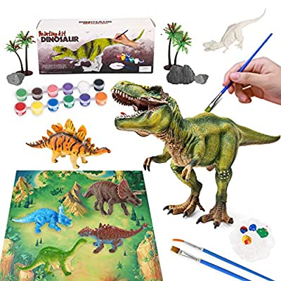 L-Lweik Dinosaur Painting Kit - Kids Arts and Crafts Supplies Dinosaur Toys for Boys Girls Paint Your Own Dinosaur Figures Crafts Set 4 5 6 7 8 Dinosaur Party Favors Christmas Birthday Gift with Map