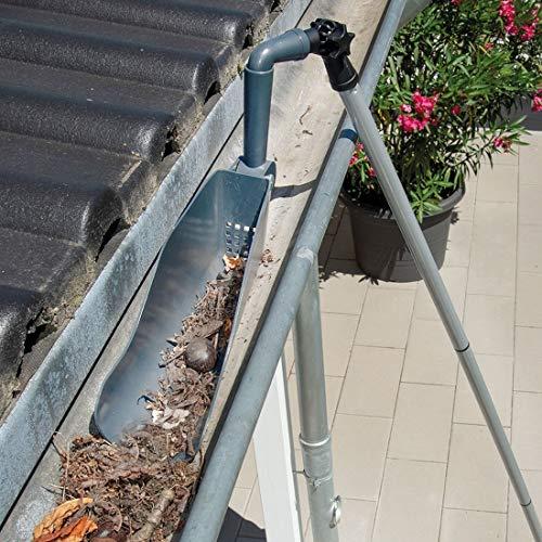 WENKO Dachrinnenschaufel Maxi - Dachrinnenreiniger mit Teleskopstiel, Reinigen ohne Leiter, Eisen, 10 x 250 x 8 cm, Grau