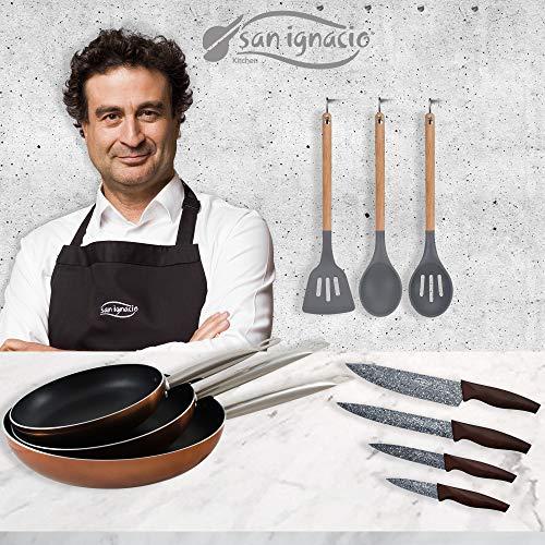 San Ignacio PK1792 Poêles 20/24/28 cm, aluminium pressé, induction, 4 couteaux de cuisine, acier inoxydable, avec set de 3 ustensiles en nylon, manche en bois