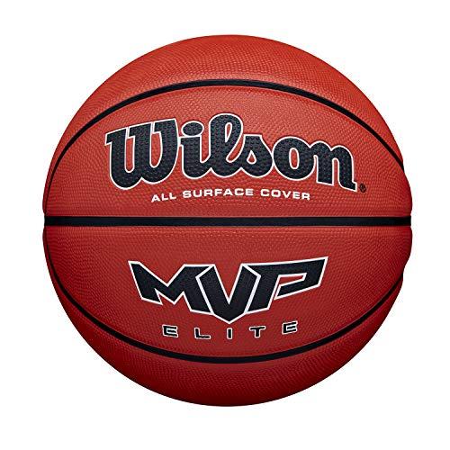 Wilson Pelota de Baloncesto MVP Elite BSKT, Tamaño: 7, Material de Goma, para Uso en Interiores y Exteriores, Marrón, WTB14607XB07