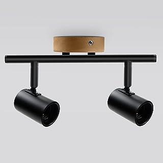 Ketom Plafonnier 2 Spots Orientables E27 Rotatif à 350° et Réglable à 90° Intérieur Lampe Murale en Bois Noir Plafond Spot...