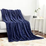MIULEE Fleece Throw Blanket with Stripe Pattern Fuzzy Flannel Navy Blue Blanket for Couch Plush Warm Cozy Bed Blanket Boho Decor for Bed Sofa Chair Twin Size 60'x80'