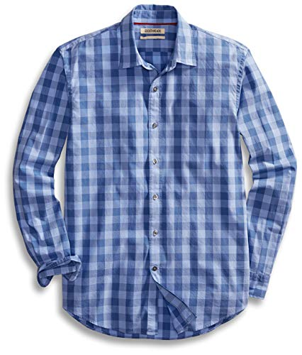 Amazon Brand - Goodthreads Mens Standard-Fit Long-Sleeve Gingham Plaid Poplin Shirt, Blue/Blue, XX-Large