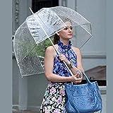 Hydz Durable Transparent Long Poignée Femmes Parapluie Semi-Automatique Portable Taille Filles Ensoleillé Pluie Polyester Parapluie Chaud Nouveau, Chine