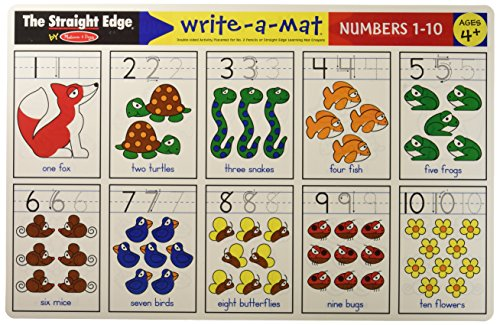 Melissa & Doug Math Problems I Write-a-Mat w/ Crayon Bundle for Ages 4 to 5: Numbers 1 to 10, & Counting to 100 - The Straight Edge Series