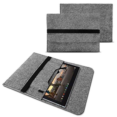 NAUC Sleeve Hülle für Lenovo Miix 310 320 300 10,1 Zoll Notebook Tasche Laptop Cover Case strapazierfähiger Filz mit Innentaschen und sicherem Verschluss Grau, Farbe:Grau