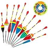 10pcs Flotadores de Pesca + 1 Caja de Pesos para Pesca Redondas Forma Dividir Colores Kit de Bobbers de Pesca Peso de Pesca Accesorio de Pesca