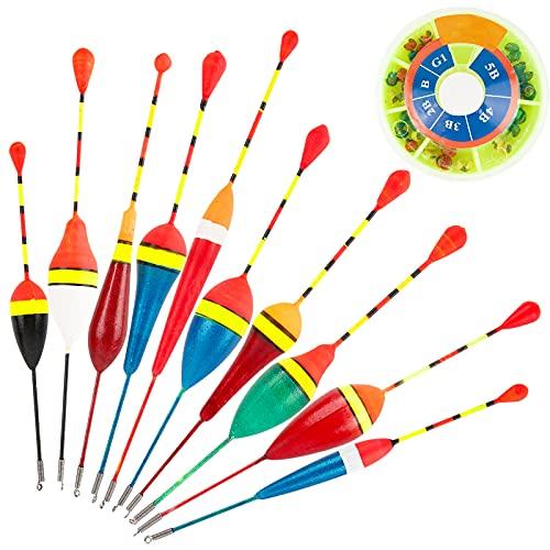 BHGT 10 Stück Angelposen Posen Angeln Set zum Angeln Schwimmer Laufposen für Friedfische Pose und Forellen Posenset als Angelzubehör und Schwimmerset