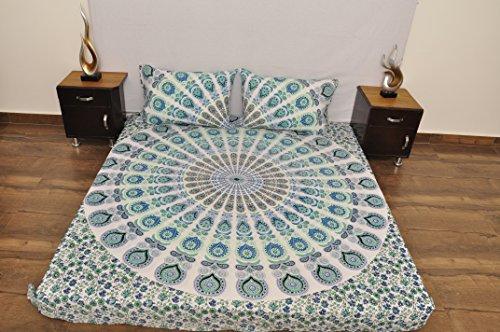 indien Turquoise Blanc floral urbain Outfitters Tapisserie murale à suspendre Mandala Couvre-lit Couvre-lit Gypsy Coque Boho Queen double Doona de couette et 2 Taie d'oreiller Lot de 100% coton 233,7 x 213,4 cm...