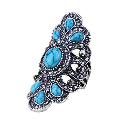 EzzySo Anillo de Turquesa Azul Natural, joyería de Anillo de aleación de Diamantes Huecos Retro Americanos (2 Piezas),8