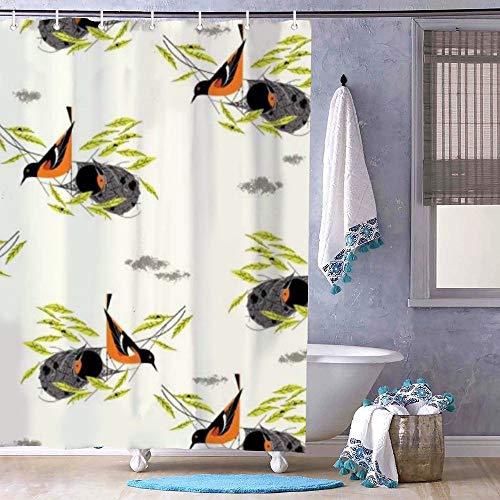 Zacathan432 72' x 72' Shower Curtain, Bath Decor, Bird Architects - Baltimore Oriole Bathroom Decor, Bathroom Curtain