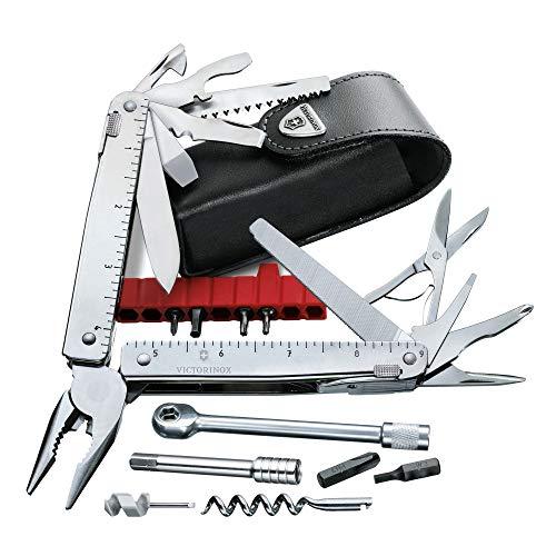 Victorinox Swiss Tools SwissTool X Plus Ratchet in Leder-Etui (38 Funktionen, Schere, grosse Klinge, Bit-Halter, Bit-Verlängerung, Korkenzieher) grau