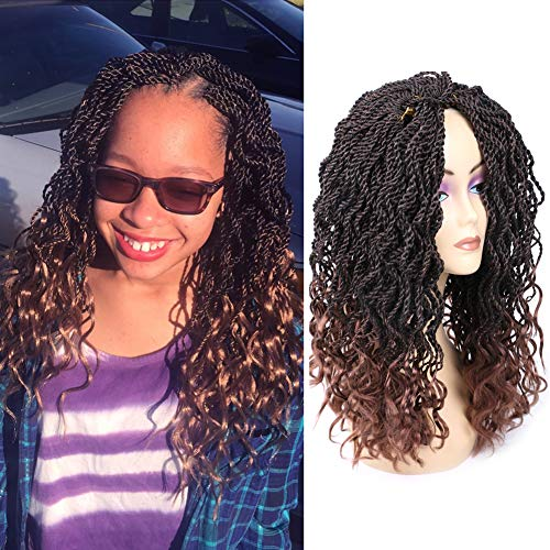 Mtmei Hair Ombre Crochet Braids,35 strands/pack 14 inch, curly Senegale Twist Hair Synthetic Braiding Hair extensions (5 Packs, #T30)