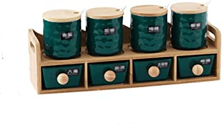 WZHZJ Fournitures de Cuisine Combinaison Assaisonnement Box Accueil Assaisonnement Pot à épices Boîte de Rangement en Bois...