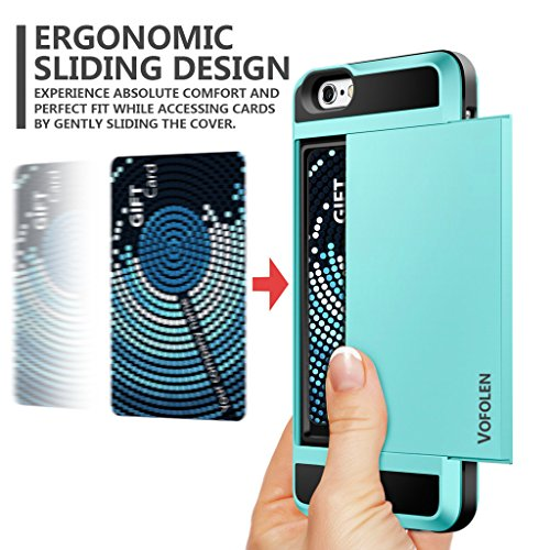 iPhone 6 Case, Vofolen Impact Resistant Protective Shell iPhone 6S Wallet Cover Shockproof Rubber Bumper Case Anti-scratches Hard Cover Skin Card Slot Holder for iPhone 6 6S 4.7 inch-Light Blue