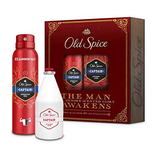 Old Spice Geschenkset Captain Vintage Box Für Männer: Deodorant Bodyspray 150ml und After Shave Lotion 100ml