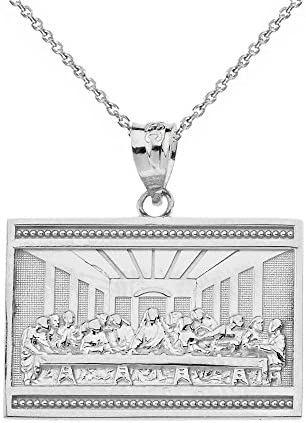 Sterling Silver The Last Supper of Jesus with His Disciples Pendant Necklace 22 product image