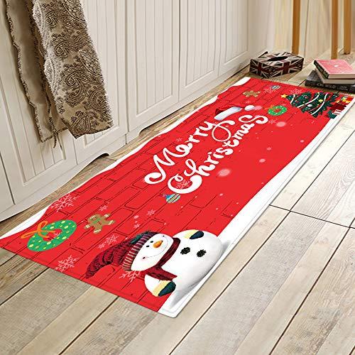 WIVION Area Rug Frohe Weihnachten Willkommen Fußmatten Indoor Home Teppiche Dekor 40X120cm Küchenmatte Bad Teppich Schlafzimmer Wohnzimmer Bodenmatte,D,40x60cm(16x24inch)