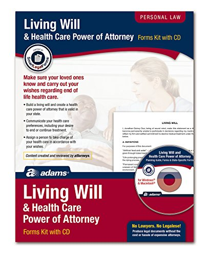 Adams Living Will and Power of Attorney for Healthcare Kit, Forms and Instructions, Includes CD (K306),White