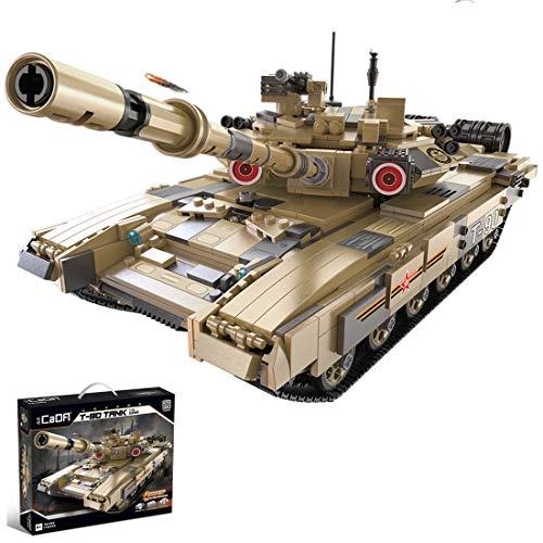 PEXL Technik Panzer Bausteine Bausatz, 1:10 T-90 Militär Panzer Modell, 1700 Klemmbausteine Kompatibel mit Lego Technic