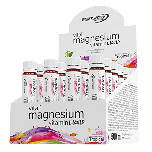 Best Body Nutrition Magnesium Vitamin Liquid, Tropical, 20 Ampullen à 25 ml (500 ml)