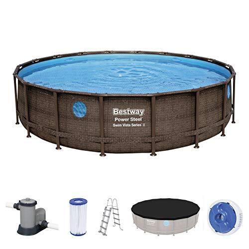 Power Steel Swim Vista Series Frame Pool Komplett-Set, rund, mit Filterpumpe, Sicherheitsleiter & Abdeckplane 549 x 122 cm