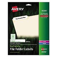 Avery 48266 エコフレンドリー ファイルフォルダーラベル 2/3 x 3 7/16インチ ホワイト 750枚パック