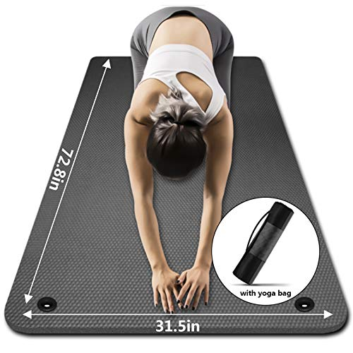 LFS Yoga Mat 31.5 inch 10mm Extra Wide and Extra Thick Non Slip Exercise & Fitness Yoga Mat with Band and Yoga Bag for All Types of Yoga Outdoor Practice, Pilates & Floor Workouts