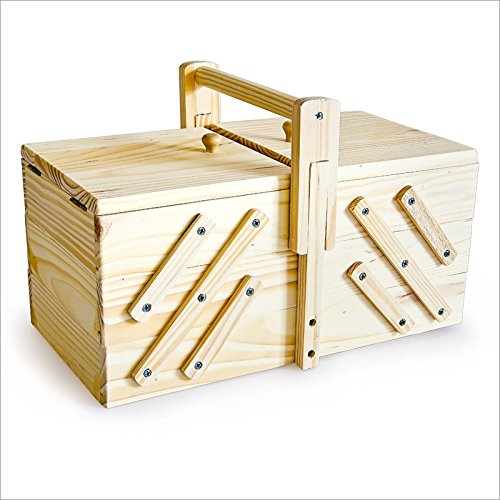 Large Wooden Sewing Box 30 x 15.5 x 19 cm For Sewing Supplies Fold-Out Box