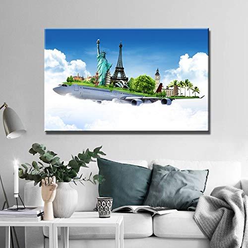 BuhuAZXM Poster en afdrukken muurkunst canvas schilderijen Bouw in vliegtuig afbeeldingen voor woonkamer wanddecoratie 50x70cm Geen frame.