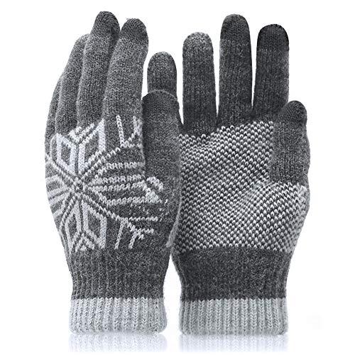 QHGao Winterhandschoenen voor heren, dikke en warme handschoenen van fluweel, winddicht en koud, met touchscreen-technologie, elastische manchetten