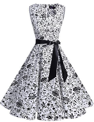 bridesmay bridesmay 1950er V-Ausschnitt Kleid Vintage Cocktailkleid Rockabilly Retro Schwingen Kleid Faltenrock Leaves Skulls 4XL