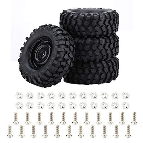 Dilwe RC Autoreifen, 4 Stück Reifen Gummireifen für 1:10 Rock Crawler Offroad RC Fernbedienung Auto Zubehör Teil
