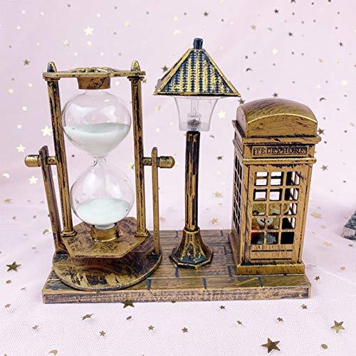 YWZQ Reloj de arena retro exquisito con adornos de cristal de arena con farol y cabina telefónica, diseño de niño en estilo vintage