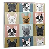 Hapyshop Cartoon French Bulldog Shower Curtain Waterproof Fabric Puppy Collages Funny Colours Bath Curtain 72 X 72 Inch Gray White Dog Animal Pet Bathroom Decor with 12 Hooks