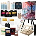 Modera Deluxe Artist Painting Set, 121-Piece Professional Art Paint Supplies Kit w/Field & Desk Easels, 72 Acrylic, Oil & Watercolor Paints, Brushes, Palettes, Canvases, Sketch Pads, Carry Bag & More