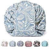 Portátil Lazy Drawstring Bolsa de Maquillaje de Viaje Bolsa de cosméticos Organizador de artículos de tocador Impermeable Grande para Mujeres y niñas (Hoja Azul)