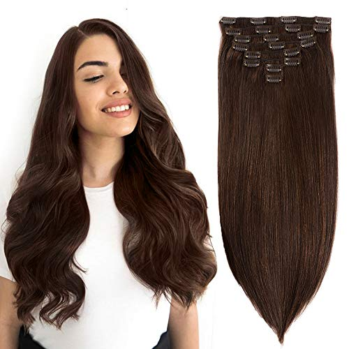 22Inch Dark Brown Human Hair Clip in Hair Extensions Brazilian Straight Human Hair Double Weft Soft Silky Straight Clip on Hair Extensions Grade 8A Quality 8pcs/Lot 120g 20clips(22'',Dark Brown)