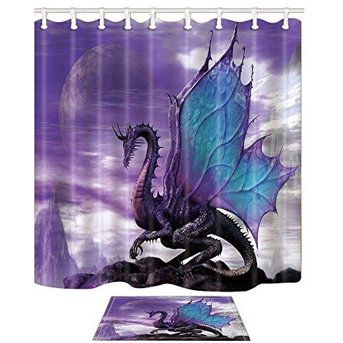 NYMB Duschvorhang-Set, Motiv: violetter Drache, 175,9 x 177,8 cm, Polyester, 39,9 x 59,9 cm, Flanell, rutschfeste Fußmatte (Duschvorhang + Badteppich)