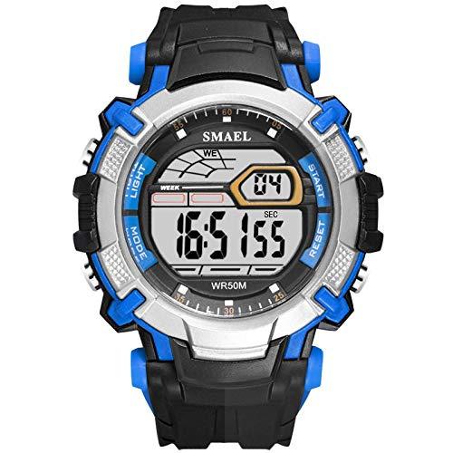 xiaoxioaguo Hombres Led reloj digital reloj despertador reloj impermeable Led deportes masculino reloj superior reloj deportivo de lujo reloj masculino NegroAzul