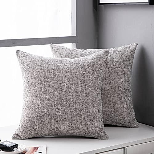 MRBJC Cojín de lino elegante diseño nórdico suave almohada para sofá dormitorio decoración del hogar gris claro 60x60cm