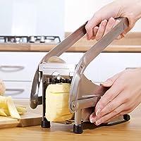 Impeccable Culinary Objects (ICO) Taglierina Per Patatine Fritte Con Due Lame In Acciaio Inossidabile e Base Di Aspirazione Sicura