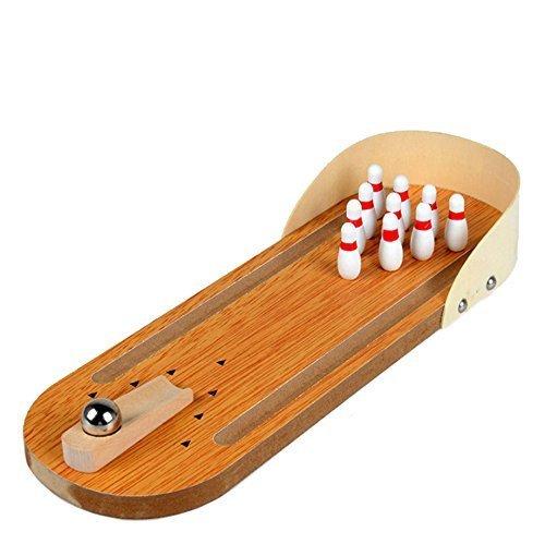 Xiton Mini-Bowling-Spiel, Mini-Holz-Tabletop-Bowling-Spiel für Kinder und Erwachsene (Massivholz)