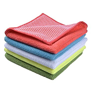 Sinland 5 color assorted Microfiber Dish Cloth Best Kitchen Cloths Cleaning Cloths With Poly Scour Side 12 x12  5 Pack (Pink+blue+white+yellow+green)