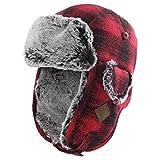 Trapper Hat Aviator Earflap Hat Faux Fur Warm Winter Hat for Men Pilot Soviet Russian Ushanka Red L SIGGI