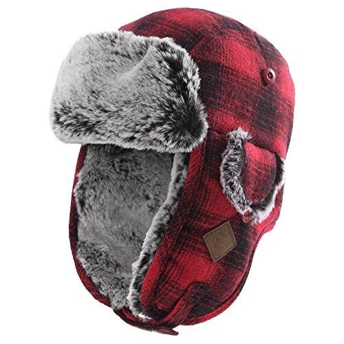 Unisex warme Fliegermütze Winter Trappermütze mit Kunstfell Women Rot L