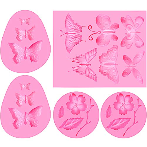 5 Stücke Silikon Fondant Formen Schmetterling und Blumen Fondant Kuchenformen Süßigkeiten Schokoladen Form für Herstellung Kuchen Dekoration, Polymer Ton, Wachs, DIY Zucker Handwerk